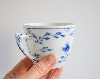 Vintage Danish Porcelain Cup, Bing and Grondahl, White Blue Coffee Tea Cup, Copenhagen Porcelain