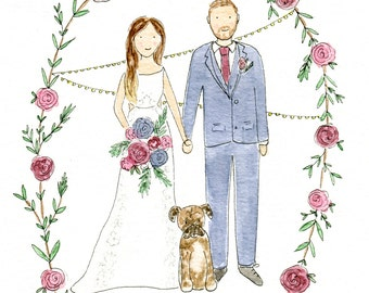 Family Portrait Illustration, Custom Portrait Watercolour, Portrait