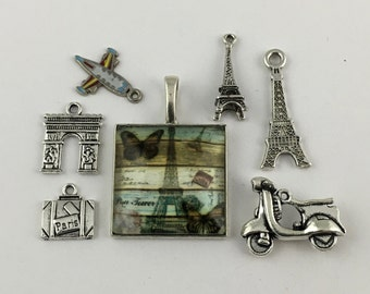 7 Paris charms and pendant collection antique silver  #ENS A 337-1