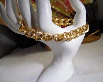 Gold Tone Texture Chain Link Bracelet