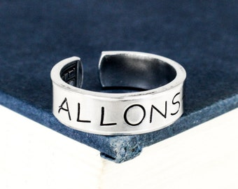 Allons-y Ring Style B - Doctor Who - TARDIS - Adjustable Aluminum Ring