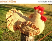 25% OFF Rustic burlap chicken doll doorstop made to order - calico ruffle around quilted wings & tail, lifelike comb and wattle