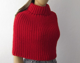 Turtleneck Poncho, Knit Cape, Red Shawl, Woman Poncho, Red Capelet, Chunky Crop Poncho
