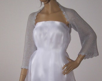 Silver Shrug, Shawl, Wedding Bolero, Bridesmaid Shawl, Bridal Cover Up