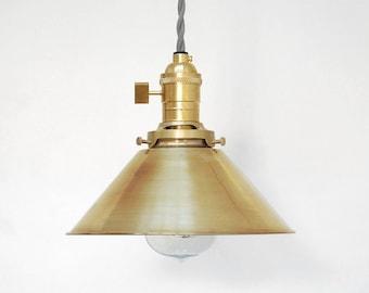 Industrial Pendant Light - Brass Pendant Light - Modern Pendant Light - Vintage Antique Retro - Edison Swag Lamp - Spun Brass Cone Shade -H5