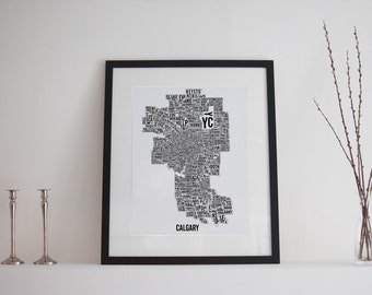 Calgary City Map Poster - Calgary Art - Alberta Map - Typography Map