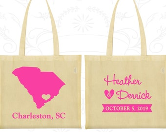 South Carolina Wedding, South Carolina Tote Bags, Wedding Favor Canvas Tote, Destination Wedding Bags, State Tote Bags (139)