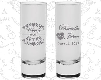 Happily Ever After Shooters, Imprinted Tall Shot Glasses, Floral Wedding Shooters, Heart, Wedding Shooters (274)