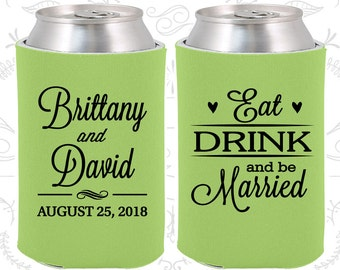 Eat Drink and Be Married Wedding (C30) Wedding Favors, Hearts, Wedding Can Coolers (30)
