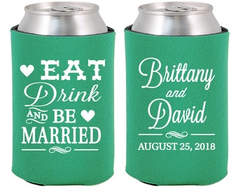 Wedding Can Coolers (C30) Eat Drink and Be Married - Personalized Can Coolers, Custom Beer Can Coolers, Wedding Favors