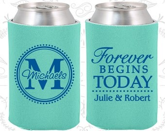 Forever Begins Today Wedding Favors, Unique Wedding Favors, Monogram Wedding Favors, Monogrammed Gifts, Wedding Can Coolers (35)