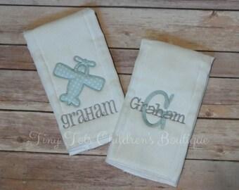 Personalized Airplane Burp Cloth Set - Monogram Burp Cloth Set - Initial - Newborn - Boy Burp Cloth Set - Baby Shower Gift
