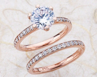 White Sapphire Engagement Ring Set / White Sapphire Bridal Set / White Sapphire Engagement Ring / Rose Gold Engagement Ring