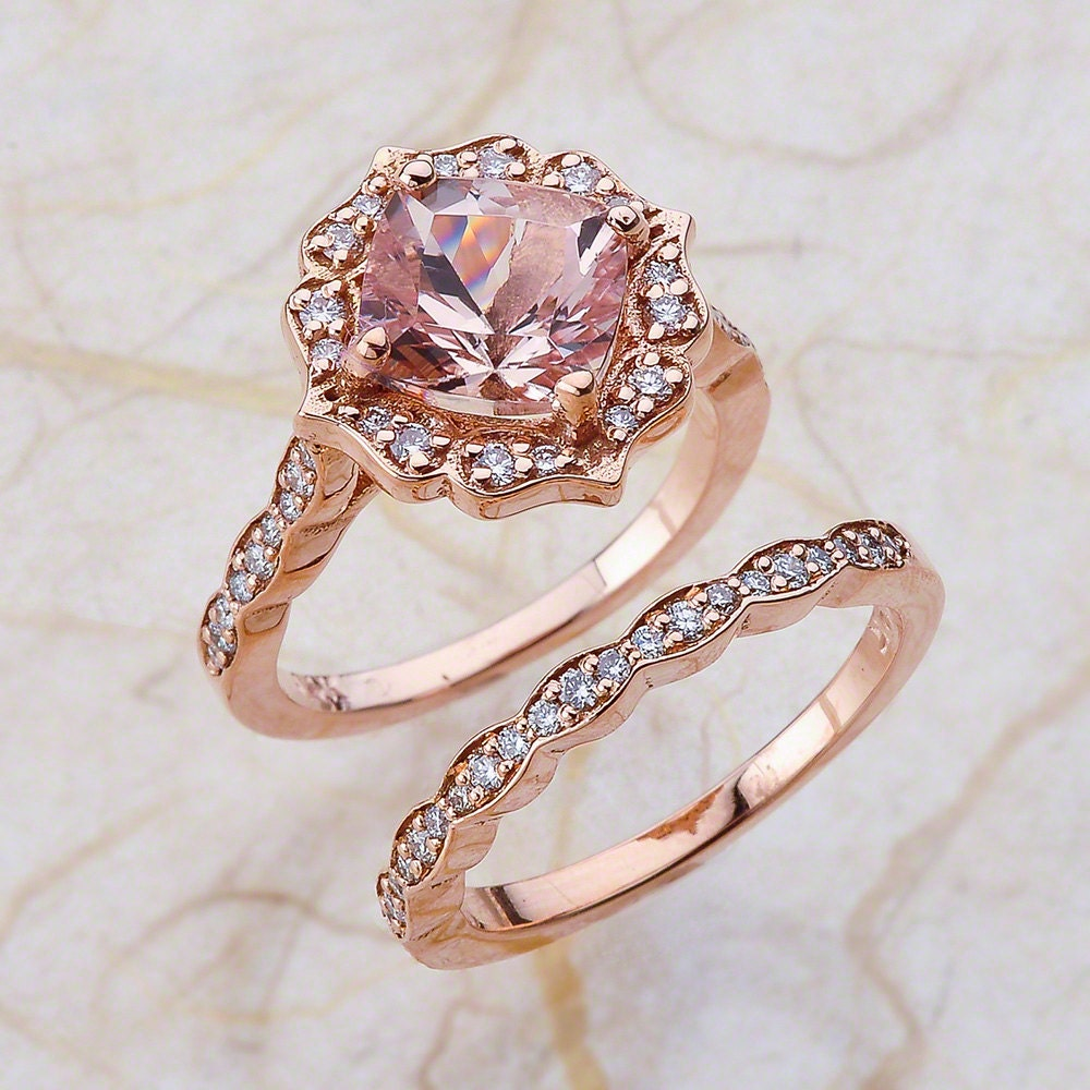Vintage bridal set morganite engagement ring and scalloped for Wedding band and engagement ring set
