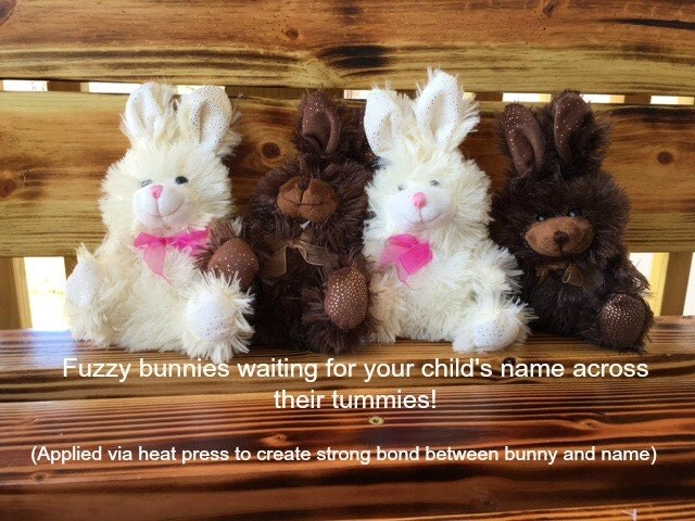 personalized easter bunny stuffed animals plushies chocolate scented glitter vinyl name glitter letters heat press