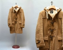 Gloverall Duffle Coat - Vintage Tan Corduroy Gloverall Sherpa Lined Horn Toggle Buttons Zipper Men's Trad Preppy Jacket Faux Fur Size 38