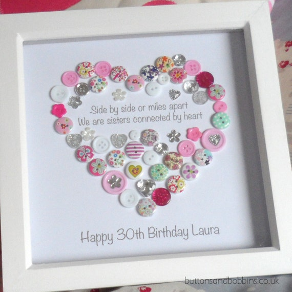 Sister Personalised Heart Button Art Print - Birthday / Christmas Gift