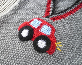 SALE Boys' clothing, hand-knitted vest with a croched red car