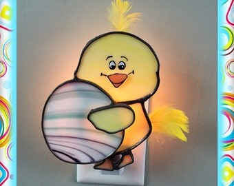 Easter Chick, Stained Glass Night Light, Sun Catcher Custom Made, Choose Egg Color