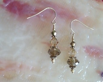 Neutral Brown Toned Swarovski Crystal Sterling Silver Earrings (E15)