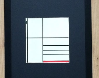 """Framed and Mounted Composition in White Black and Red Print by Piet Mondrian 16"""" x 12"""""""