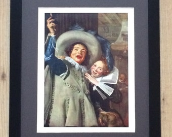 """Framed and Mounted Yonker Ramp and His Sweetheart Print by Frans Hals 16"""" x 12"""""""