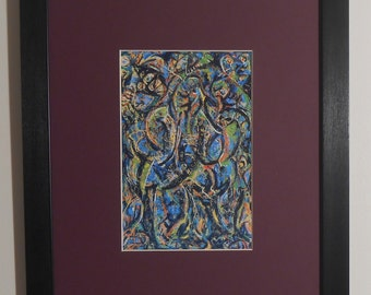 """Mounted and Framed - Gothic by Jackson Pollock - 14"""" x 11"""""""