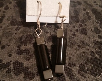 Hematite and Black Glass Earrings