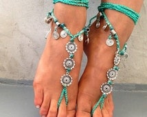 PROMO SALE Barefoot sandals. beaded sandals, native america boho barefoot sandles, crochet barefoot sandals, , yoga, anklet  hippie shoes