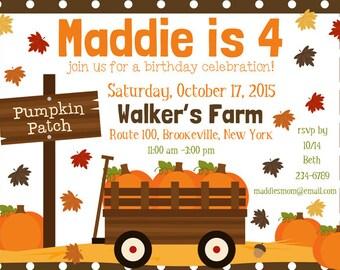 Pumpkin Patch Party Birthday Invitation Printable