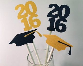 Graduation Cupcake Toppers - Cap and 2016