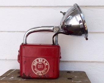rusty industrial flashlight ~ big Beam no 211 ~ red flashlight ~ rustic flashlight ~ cool lines ~ rusty & crusty