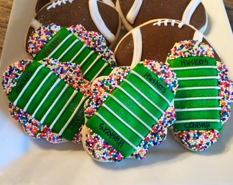 Football Custom Sugar Cookies ~ 1 Dozen  (12) Sports Themed Cookies ~ College and NFL Cookies