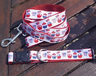 JULY 4th DOG COLLAR and Lead Set. Celebration. American. Partriotic.