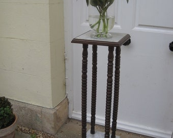 Early 20th Century Marble and Wood Two Tier Torchiere/Jardiniere/Plant Stand
