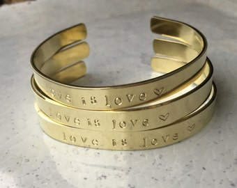 Love is love stamped brass cuff bracelet