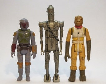 Vintage 1979 1980 Kenner Star Wars Boba Fett, IG-88, Bossk Bounty Hunters Trio Action Figures Made in Hong Kong Great Geek Gift