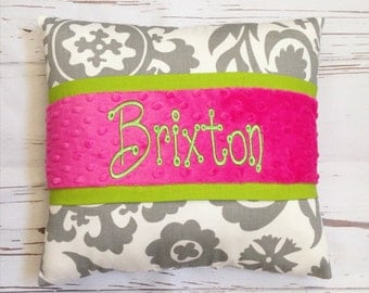 Grey, lime, fuchsia minky dot personalized pillow, floral suzanni, green and pink girl