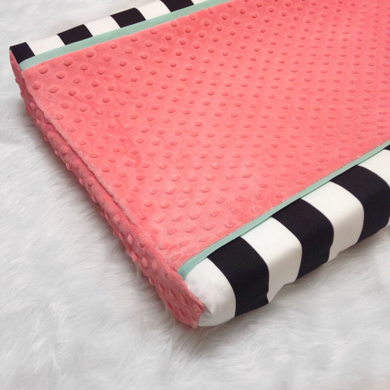 black stripe coral minky dot mint changing pad cover. Black Bedroom Furniture Sets. Home Design Ideas