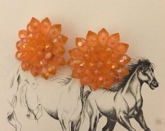 Vintage 50s flower cluster earrings