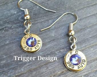 Simple 380 Caliber Dangle Bullet  Casing Earrings- Purple
