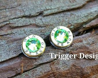 25 Caliber Bullet Casing Post Earrings- Light Green