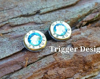 25 Caliber Bullet Casing Post Earrings- Light Blue
