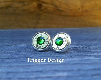 9mm Caliber Bullet Casing Post Earrings- Dark Green