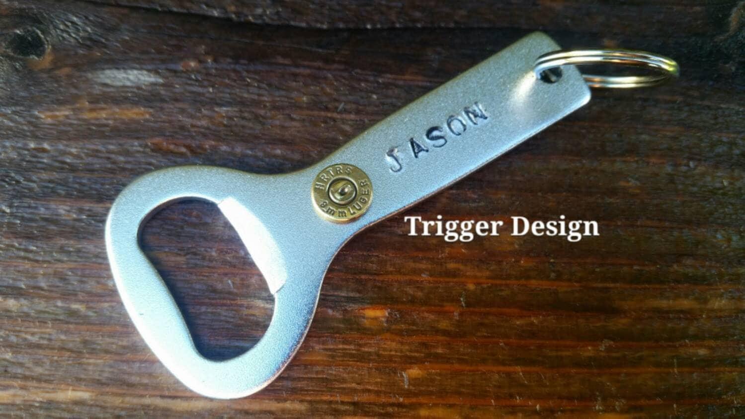 aluminum bottle opener bullet keychain with hand stamped. Black Bedroom Furniture Sets. Home Design Ideas
