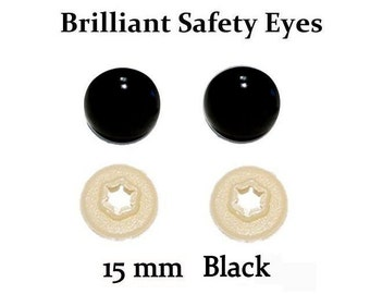 15mm Safety Eyes Black Brilliant with Round Pupil (One Pair)