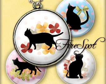 Silhouette Animal cat - Digital Collage Sheet 1.5 inch,1.25 inch,30 mm,1 inch,25 mm circle Glass Pendants,Scrapbooking