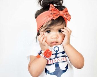 Personalized Baby Headband - Infant Bow Headband - Girls Hair Accessories - Toddler Headband - Personalized Bow Headband – Coral Bow