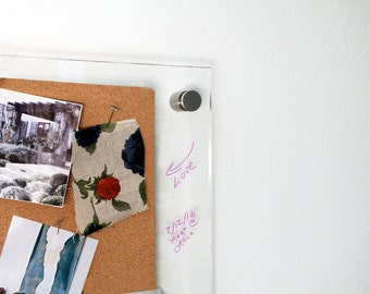 DTBD Pure Wall Cork Board - PETITE: Lucite Framed Cork Board