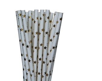 Gold Foil Star Paper Straws-Gold Foil Straws-Star Paper Straws-Wedding Paper Straws-Hollywood Birthday Party-New Years Party-Sleepover Straw
